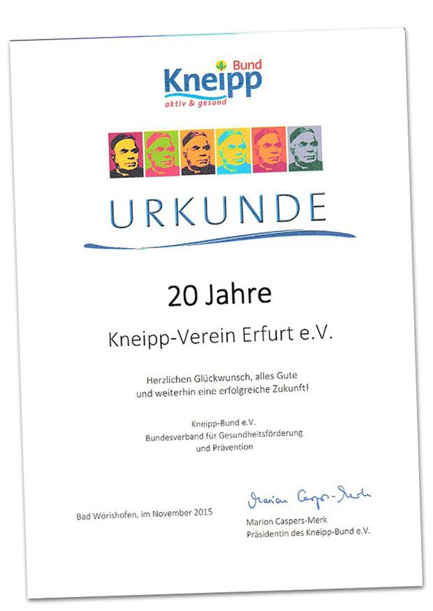Urkunde zum 20jährigen Jubiläum des Kneippvereins Erfurt 2015